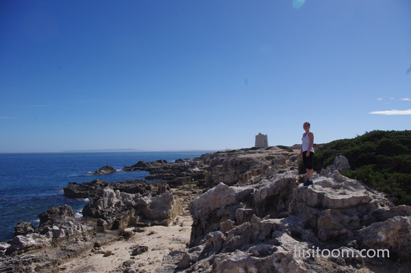 The view to Torre de Ses Portes in Salines walking route in Ibiza