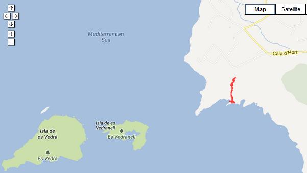 walking in Ibiza walking route map to Atlantis at Es Vedra, Ibiza