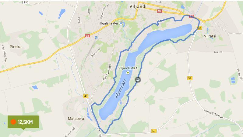 Viljandi lake walking route.