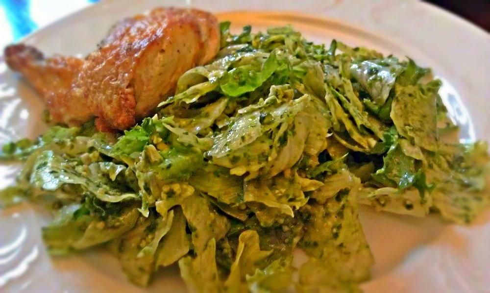 Maisikana rohelise salati ja PESTOga Scheelis